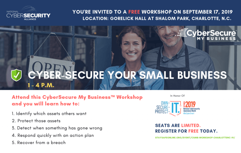 CyberSecure Your Business™ Workshop – Charlotte, NC @ Gorelick Hall at Shalom Park | Charlotte | North Carolina | United States